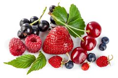 Set fresh berry. Mix summery fruit raspberry stock image