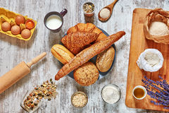 Set of fresh bread and baking ingredients. Royalty Free Stock Images