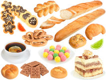 Set of fresh bread and sweets Royalty Free Stock Photo