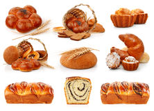 Set fresh breads with corn and sweet cakes Royalty Free Stock Photos