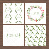 Set of fresh cards with floristic patterns Stock Images