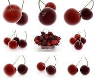 Set of fresh cherries on a white Royalty Free Stock Photo
