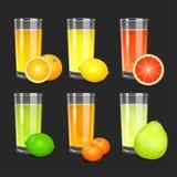 Set of fresh citrus juices. Royalty Free Stock Photo