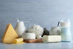 Set of fresh dairy products Royalty Free Stock Images