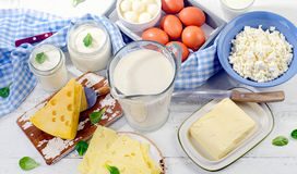 Set of fresh dairy products. View from above Stock Image