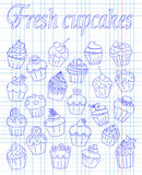 Set of fresh and delicious cupcakes Stock Image