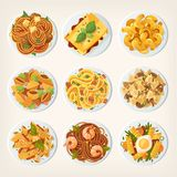 Set of fresh delicious fast foods from asian streets. Variety of Stock Photography