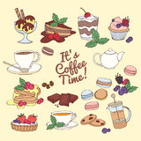 Set of fresh desserts with coffee, tea, berry, ice cream, cupcak Royalty Free Stock Image