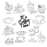 Set of fresh desserts with coffee, tea, berry, ice cream, cupcak Stock Photography