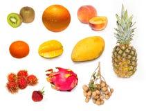 Set of fresh exotic fruits Stock Images