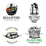 Set of fresh farm food badges in vintage style. Set of qualifying fresh farm food badges, organic products labels, badges, design elements: bottle of milk Royalty Free Stock Photos