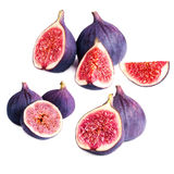 Set of  Fresh figs with cut pieces isolated on white background Royalty Free Stock Photos