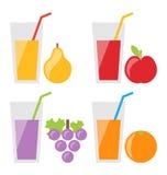Set of Fresh Fruit Juices Stock Photo