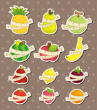 Set of fresh fruit and ruler health  stickers Stock Photo