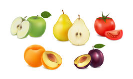 Set of fresh fruit and vegetables on white background Stock Image