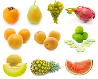 Set of fresh fruits. Over white background. (pineapple, dragon, lemon, melon, orange, peach, persimmon, watermelon, pear Royalty Free Stock Photos