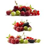 Set of fresh fruits and berries. Fruits and berries isolated on white background. Ripe currants, raspberries, cherries, strawberri. Es, gooseberries, mulberries Royalty Free Stock Photography