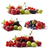 Set of fresh fruits and berries. Fruits and berries isolated on white background. Ripe currants, raspberries, cherries, strawberri. Es, gooseberries, blueberries Royalty Free Stock Images