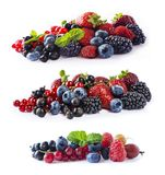 Set of fresh fruits and berries isolated a white background. Ripe blueberries, blackberries, currants, raspberries and strawberrie. S. Berries and fruits with Stock Image