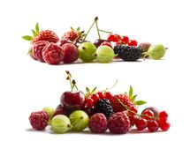 Set of fresh fruits and berries. Fruits and berries isolated on white background. Ripe currants, raspberries, cherries, strawberri. Es, gooseberries, mulberries Stock Image