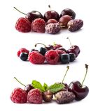 Set of fresh fruits and berries. Fruits and berries isolated on white background. Ripe currants, raspberries, cherries, strawberri. Es, gooseberries, mulberries Royalty Free Stock Images