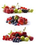 Set of fresh fruits and berries isolated a white background. Ripe currants, raspberries, cherries, strawberries, gooseberries, mul. Berries and bilberries stock photos