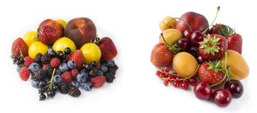 Set of fresh fruits and berries isolated on white. Mix berries on a white. Berries and fruits with copy space for text. Ripe straw. Berries, currants, cherries Stock Photos