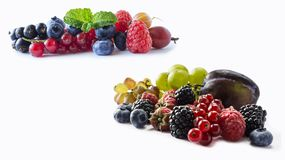 Set of fresh fruits and berries. Ripe blueberries, blackberries, red currants, grapes, raspberries and plums. Various fresh summer berries on white background Stock Image