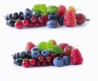 Set of fresh fruits and berries. Ripe blueberries, red currants, black currant, raspberries and strawberries. Mix berries isolated. Set of fresh ts and berries Stock Photography