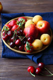 Set of fresh fruits and berries Stock Images