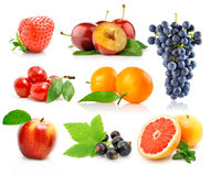 Set fresh fruits with green leaves royalty free stock photography