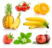 Set fresh fruits with green leaves Royalty Free Stock Images