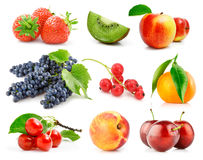 Set fresh fruits with green leaves isolated royalty free stock photography