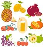 Set of fresh fruits isolated on white Royalty Free Stock Images