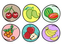 Set of Fresh Fruits on Round Background Stock Photos