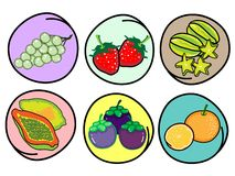 Set of Fresh Fruits on Round Background Royalty Free Stock Photos