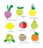Set of fresh fruits and vegetables Stock Photo