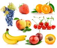 Free Set Fresh Fruits With Green Leaves Royalty Free Stock Images - 12855169