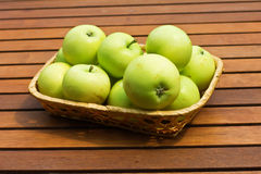 Set of fresh green apples in bucket Stock Image