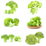 Set of fresh green broccoli on a isolated white background. Group of fresh head of broccoli isolated on a white cutout Stock Photo