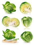 Set fresh green cabbage fruits isolated on white Stock Photos