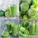 Set of Fresh Green Smoothie Royalty Free Stock Photography