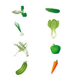 Set of fresh green vegetables isolated Stock Photo