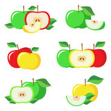 Set of fresh green, yellow, red apples with green leaves. Royalty Free Stock Images
