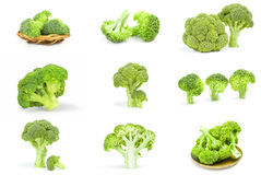 Set of fresh head of broccoli. Collage of fresh raw broccoli isolated on a white background cutout Royalty Free Stock Photos