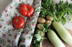 Set of fresh homestead vegetables and greens on the table with linen cloth. Organic vegetables for cooking. Zucchini, tomatoes, potatoes and greens ready to cook Royalty Free Stock Photography