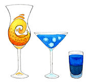 Set of 3 fresh and icy cocktails on white background. Stock Photos