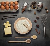 Set of fresh ingredients to make a soft fluffy dough stock images