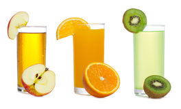 Set with fresh juice with fruits Stock Photography