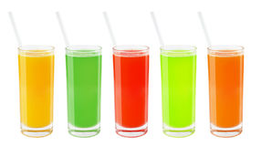 Set of fresh juices in a glass Stock Photos